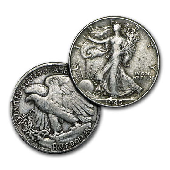 $1.00 Face Value Walking Liberty Halves XF