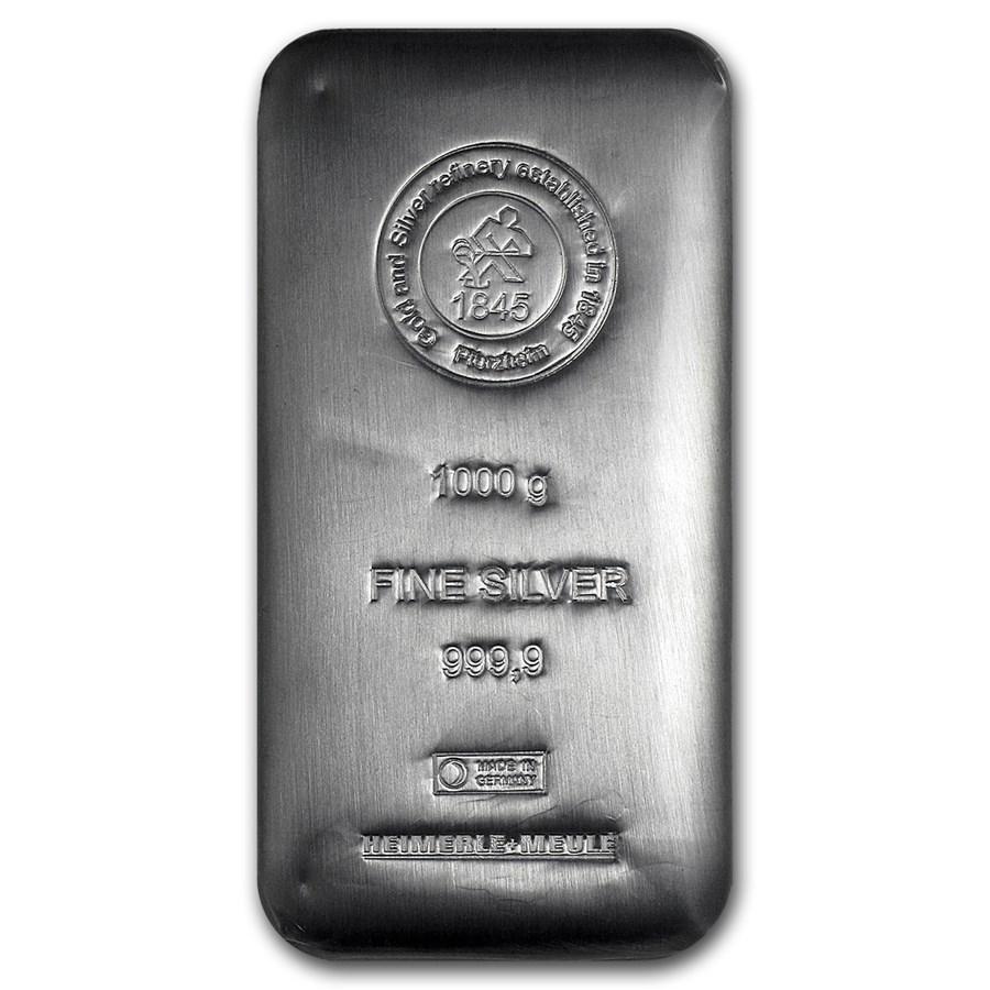 1,000 gram (Kilo) Silver Bar - Heimerle & Meule (Cast)