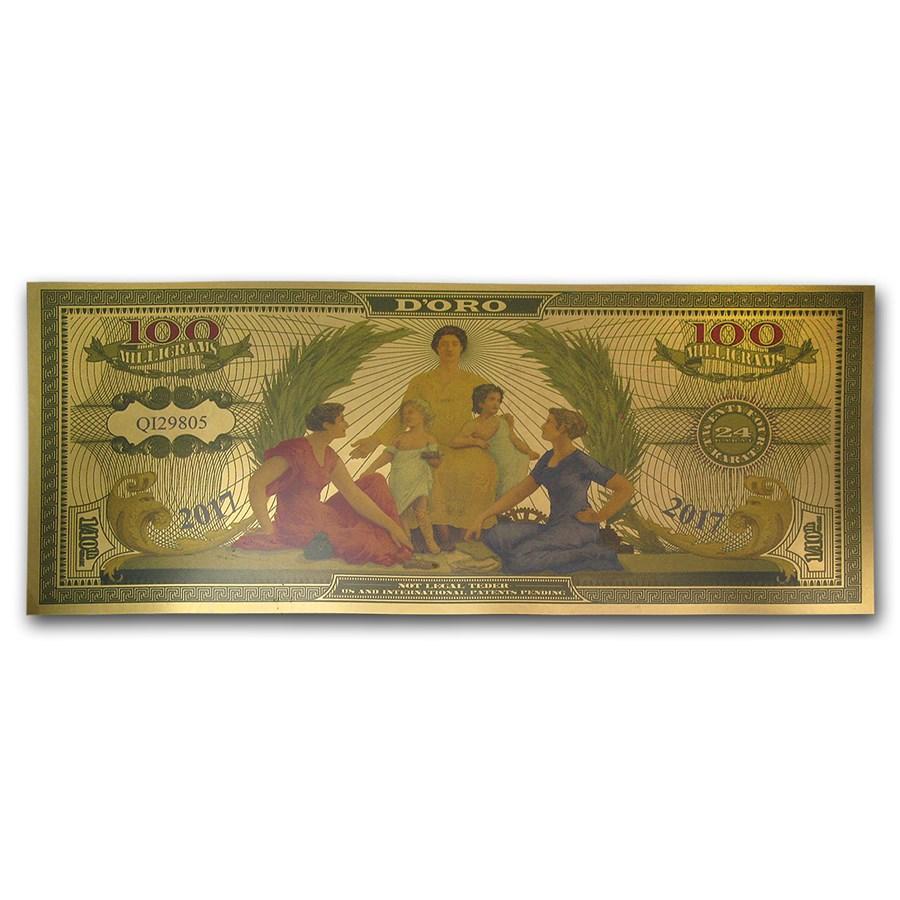 1/10 gram Gold Aurum Note - 1896 $2.00 Educational Restrike, 24K