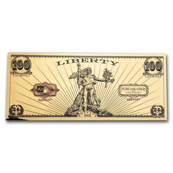 1/10 gram Gold Aurum Note - 2021 Lady Liberty Design