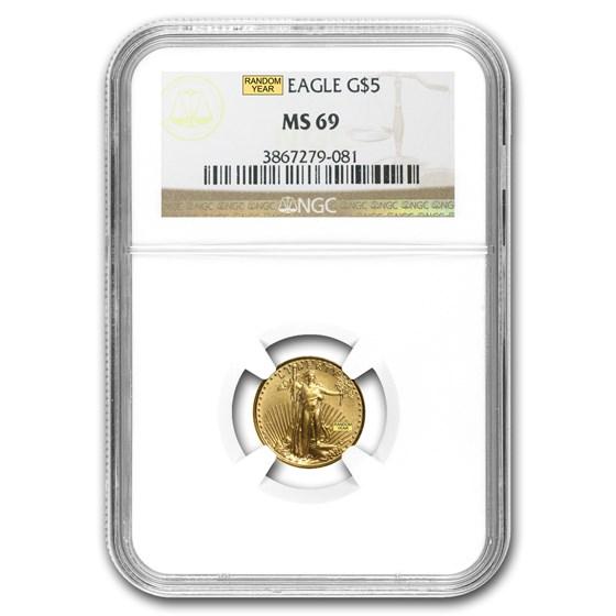 1/10 oz American Gold Eagle MS-69 NGC (Random Year)