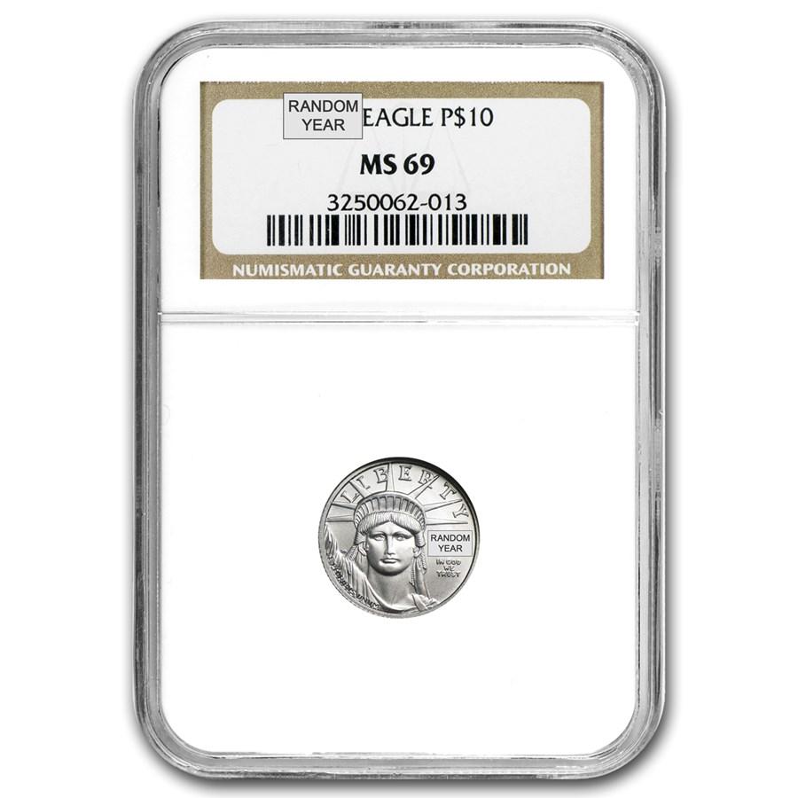1/10 oz American Platinum Eagle MS-69 NGC (Random Year)