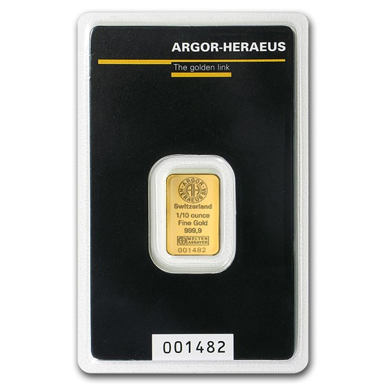 1/10 oz Gold Bar - Argor-Heraeus (In Assay)