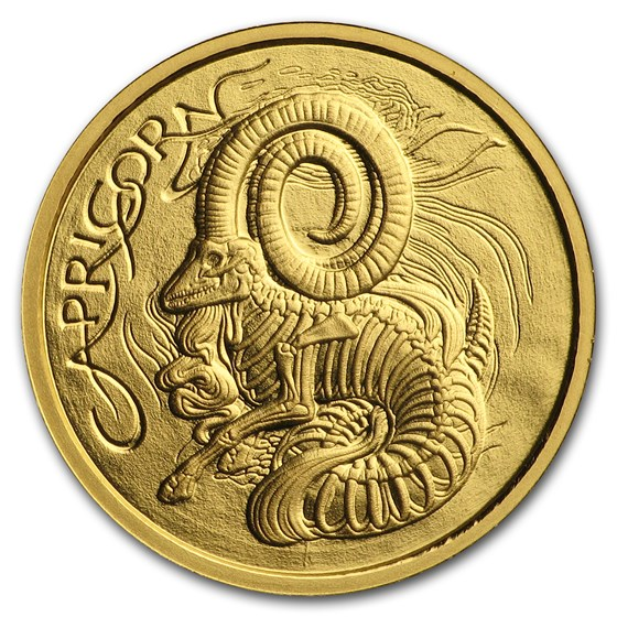 1/10 oz Gold Proof Round - Zodiac Skull Series (Capricorn)