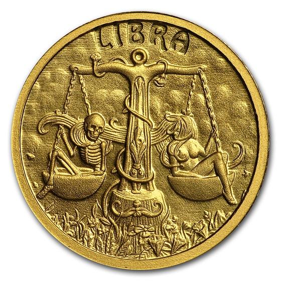 1/10 oz Gold Proof Round - Zodiac Skull Series (Libra)