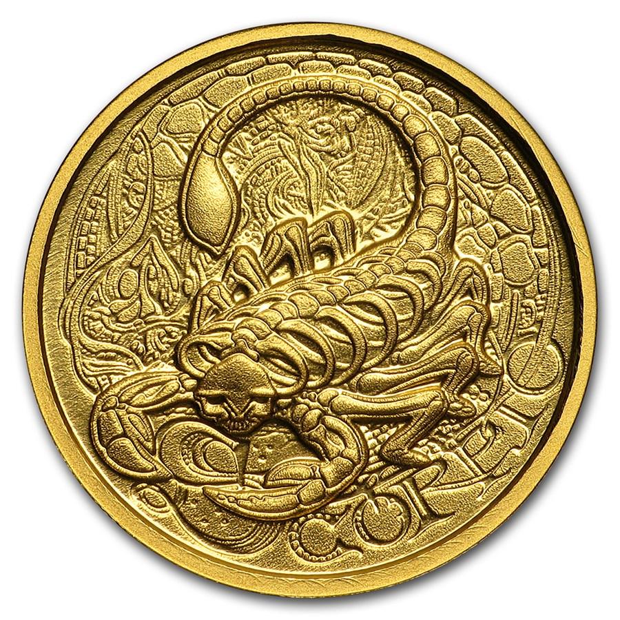 1/10 oz Gold Proof Round - Zodiac Skull Series (Scorpio)