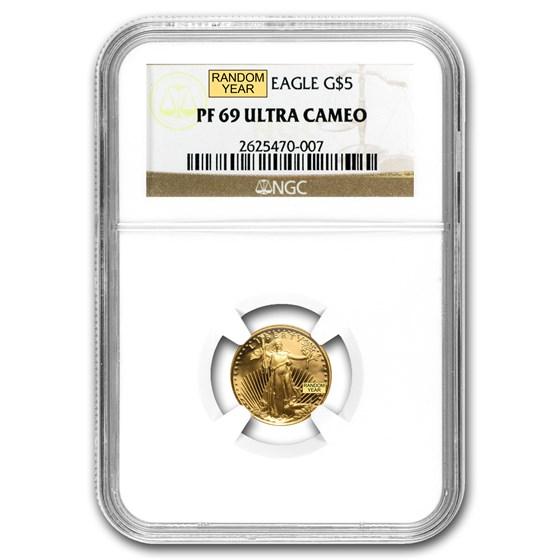 1/10 oz Proof American Gold Eagle PF-69 NGC (Random Year)