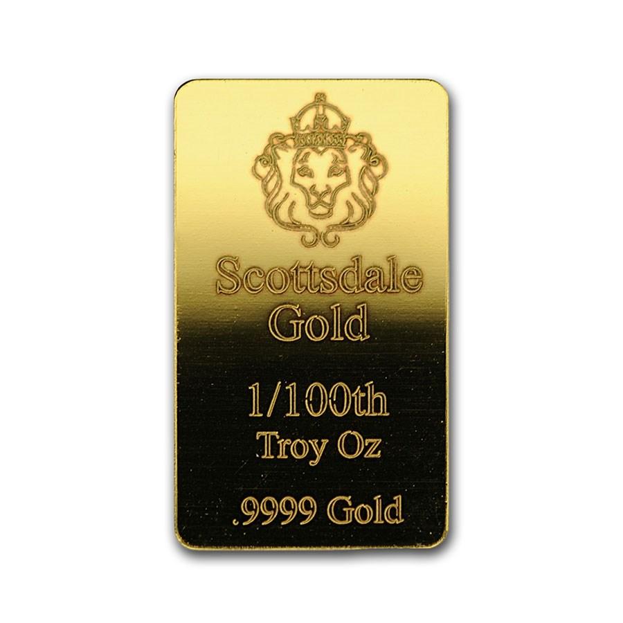 1/100 oz Gold Bar - Scottsdale Mint