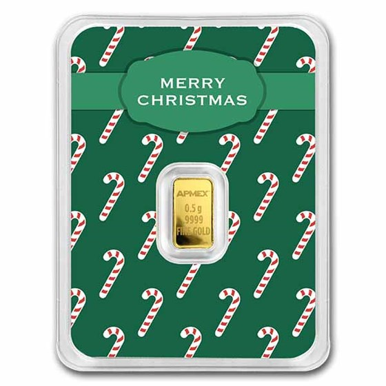 1/2 gram Gold Bar - APMEX (Merry Christmas, Candy Canes in TEP)