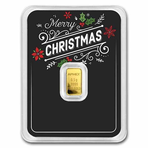 1/2 gram Gold Bar - APMEX (w/Black Merry Christmas Card, In TEP)