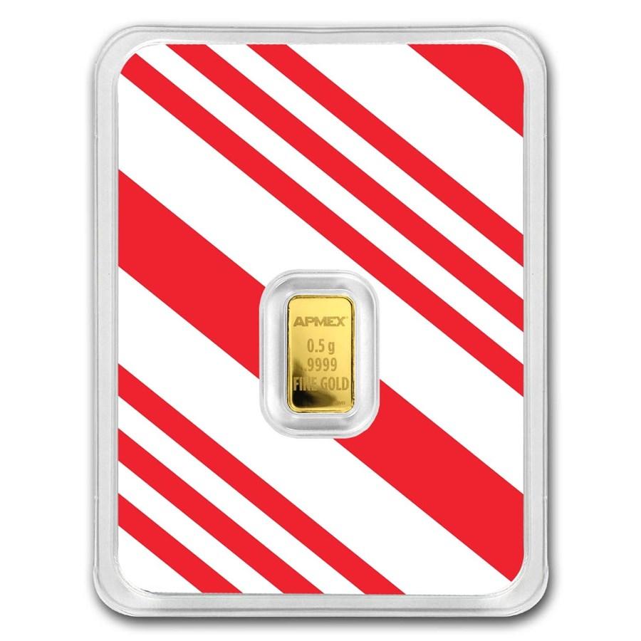 1/2 gram Gold Bar - APMEX (w/Candy Cane Stripes Card, In TEP)