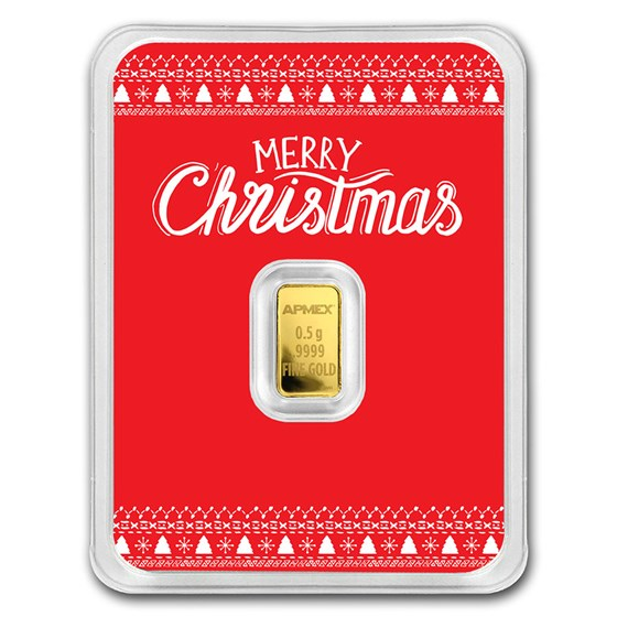 1/2 gram Gold Bar - APMEX (w/Red Merry Christmas Card, In TEP)