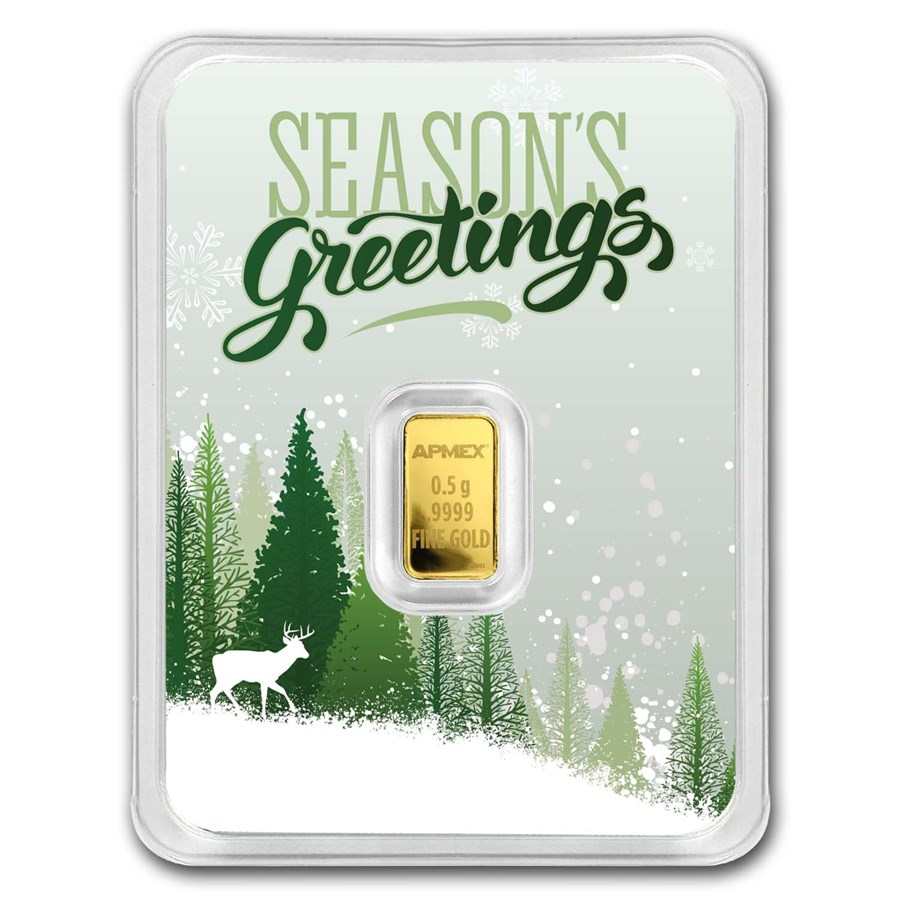 1/2 gram Gold Bar - APMEX (w/Season's Greetings Card, In TEP)