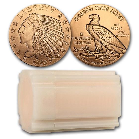1/2 oz Copper Round - Incuse Indian (20 count tube)