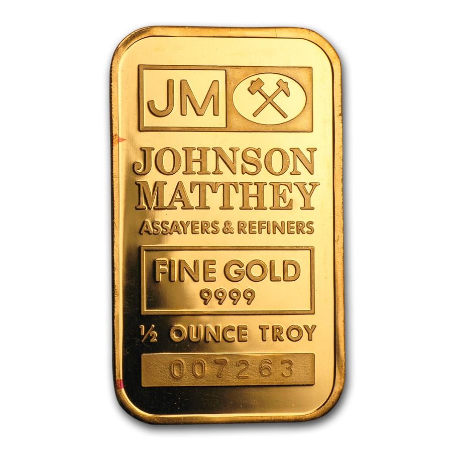 1/2 oz Gold Bar - Johnson Matthey (Logo Reverse)
