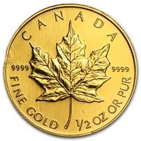 1/2 oz Gold Canadian Maple Leaf (Abrasions)
