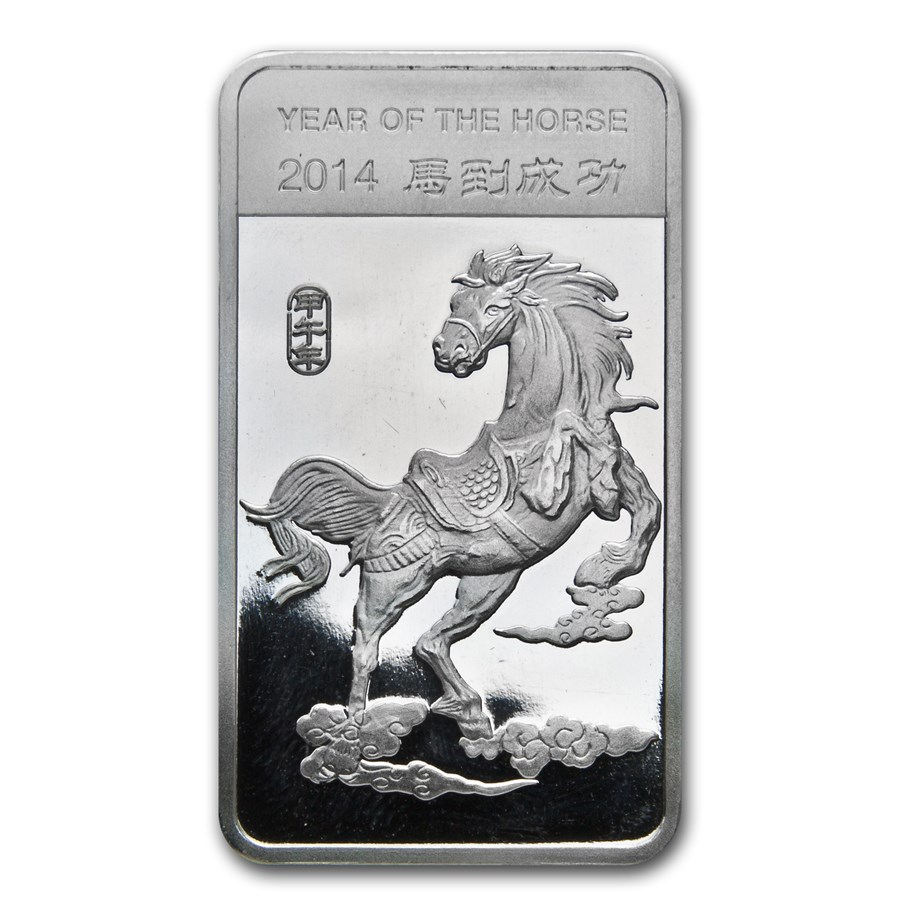 1/2 oz Silver Bar - APMEX (2014 Year of the Horse)