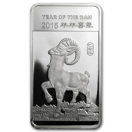 1/2 oz Silver Bar - APMEX (2015 Year of the Ram)