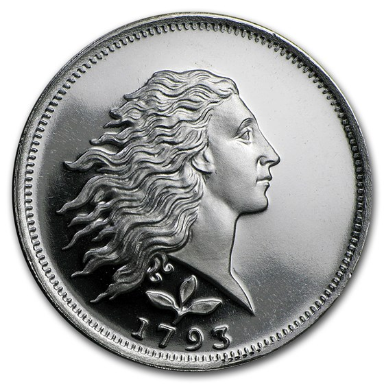 1/2 oz Silver Round - Flowing Hair