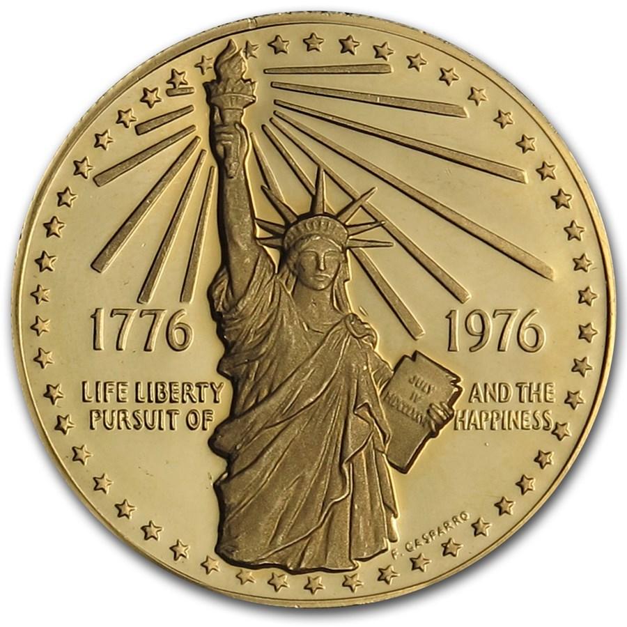 1.385 oz Gold Round - 1976 American Bicentennial Medal .900 Fine
