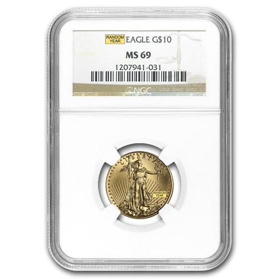 1/4 oz American Gold Eagle MS-69 NGC (Random Year)