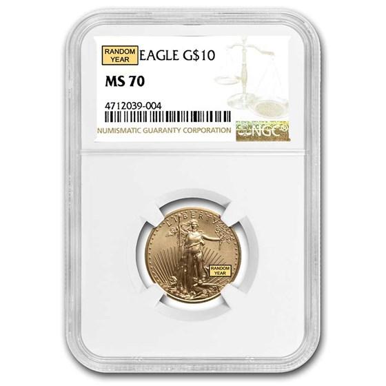 1/4 oz Gold American Eagle MS-70 NGC (Random Year)