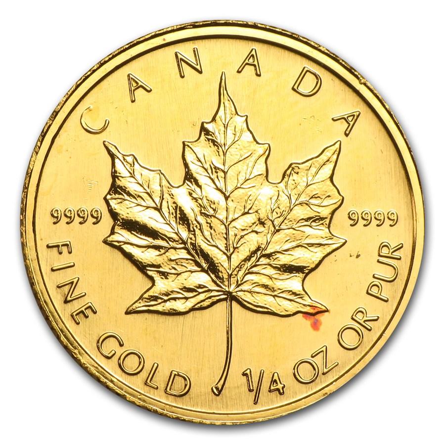 1/4 oz Gold Canadian Maple Leaf (Abrasions)