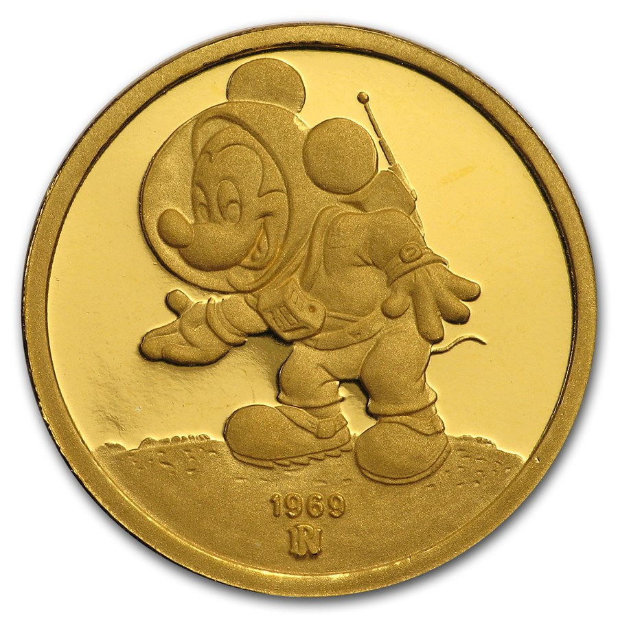 1/4 oz Gold Round - Walt Disney (Mickey, A Mouse of All Trades)
