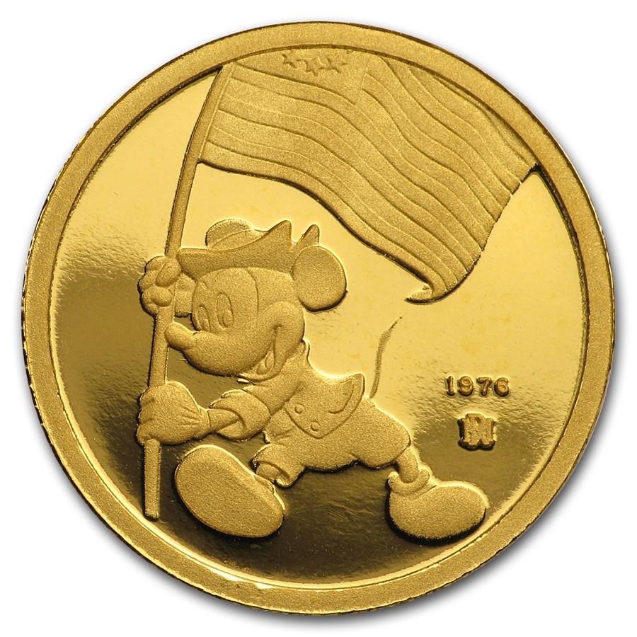 1/4 oz Gold Round - Walt Disney (Mickey, Ambassador of Peace)