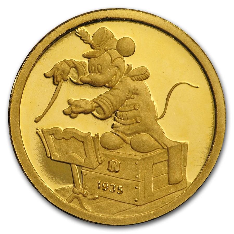 1/4 oz Gold Round - Walt Disney (Mickey, Band Conductor)
