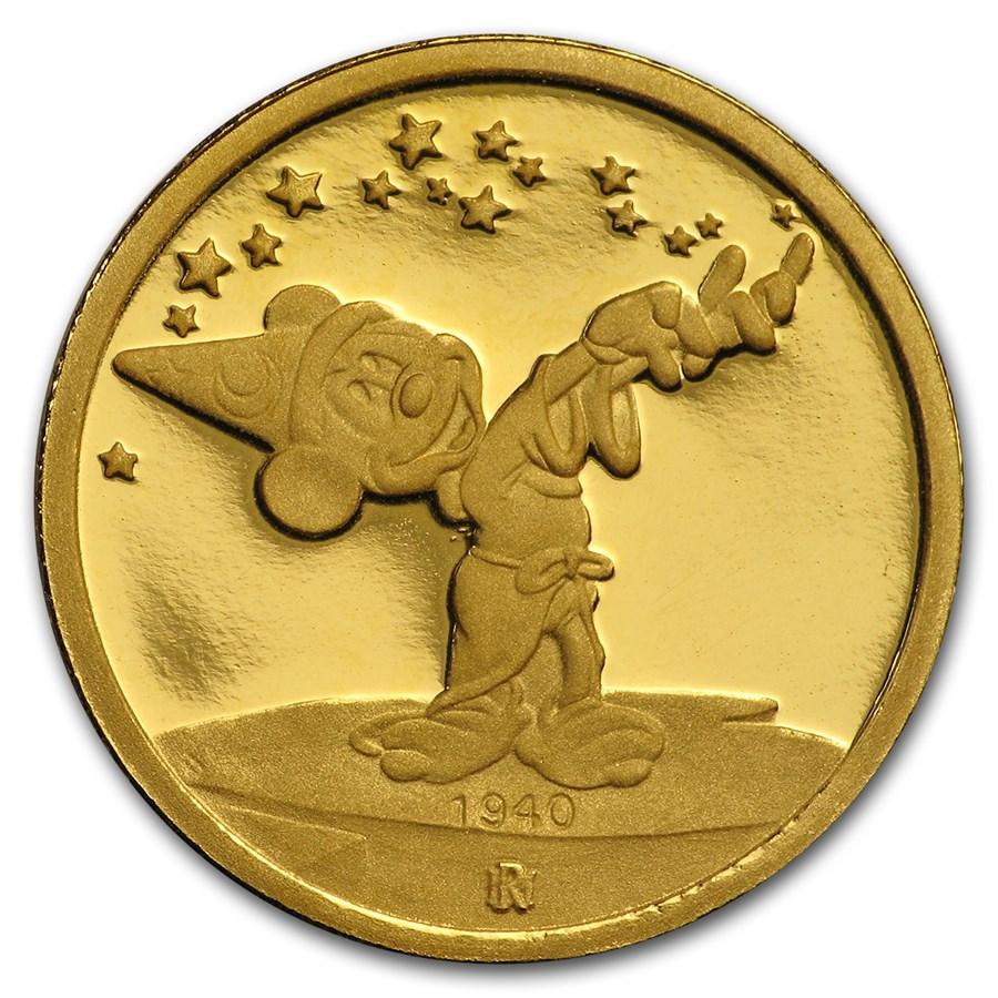 1/4 oz Gold Round - Walt Disney (Mickey, Sorcerer's Apprentice)