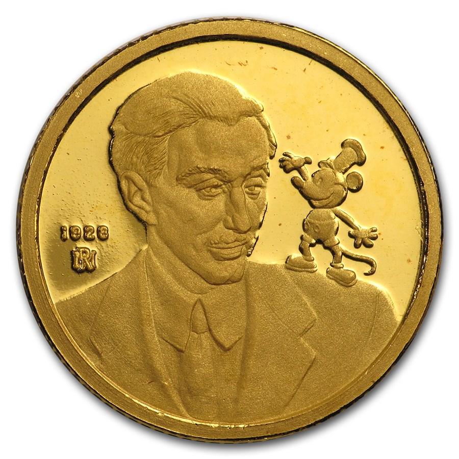 1/4 oz Gold Round - Walt Disney (Mickey & Walt)