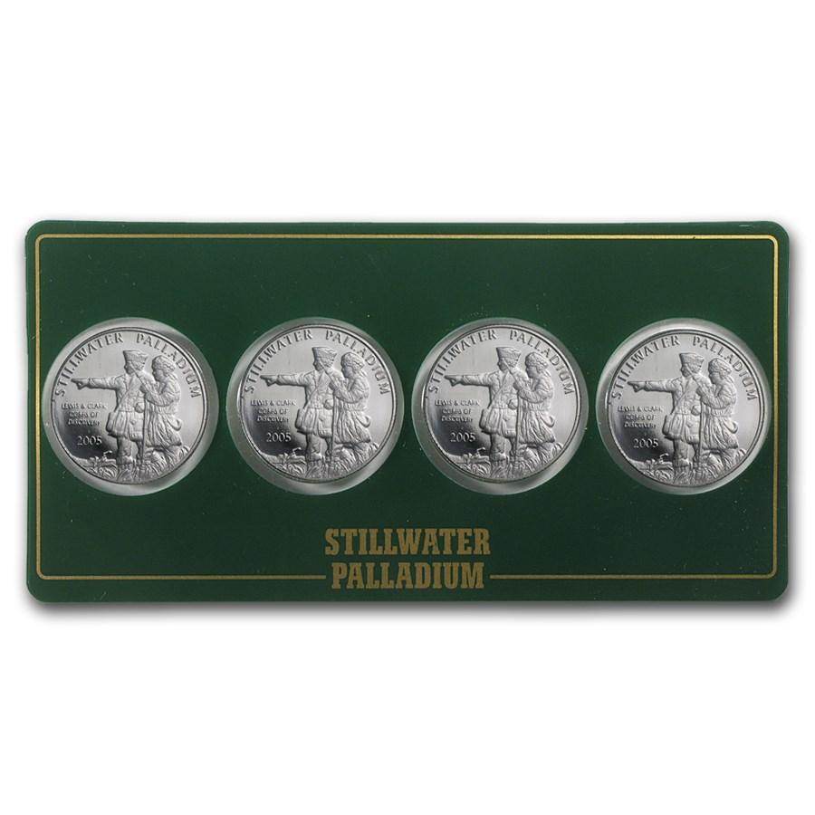 1/4 oz Palladium Round - Johnson Matthey Lewis & Clark (4-Pack)