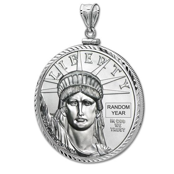 1/4 oz Platinum Eagle White Gold Pendant (DiamondScrewTop Bezel)