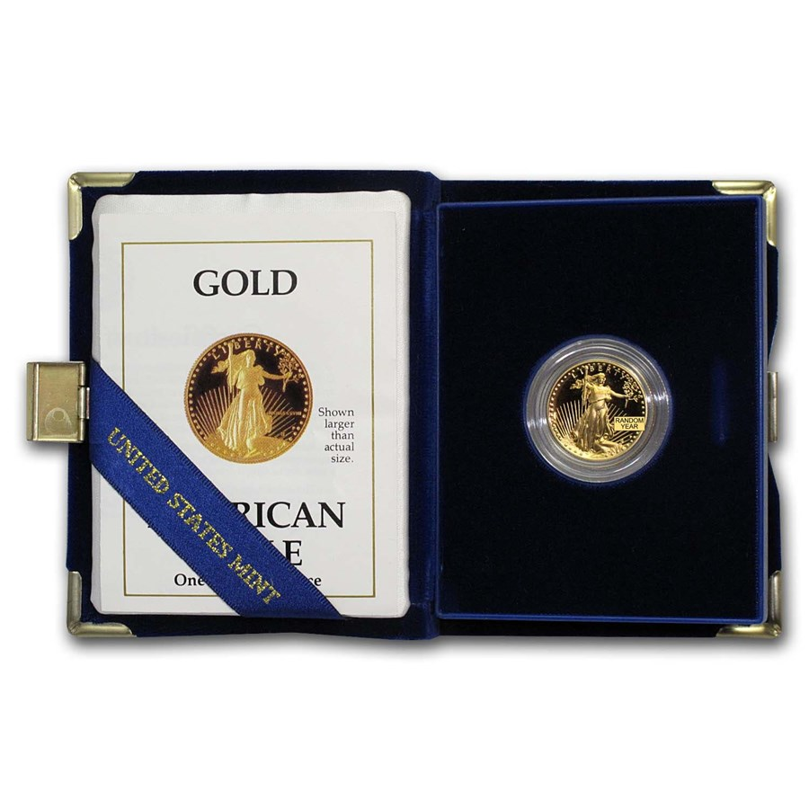 1/4 oz Proof American Gold Eagle (Random Year, w/Box & COA)