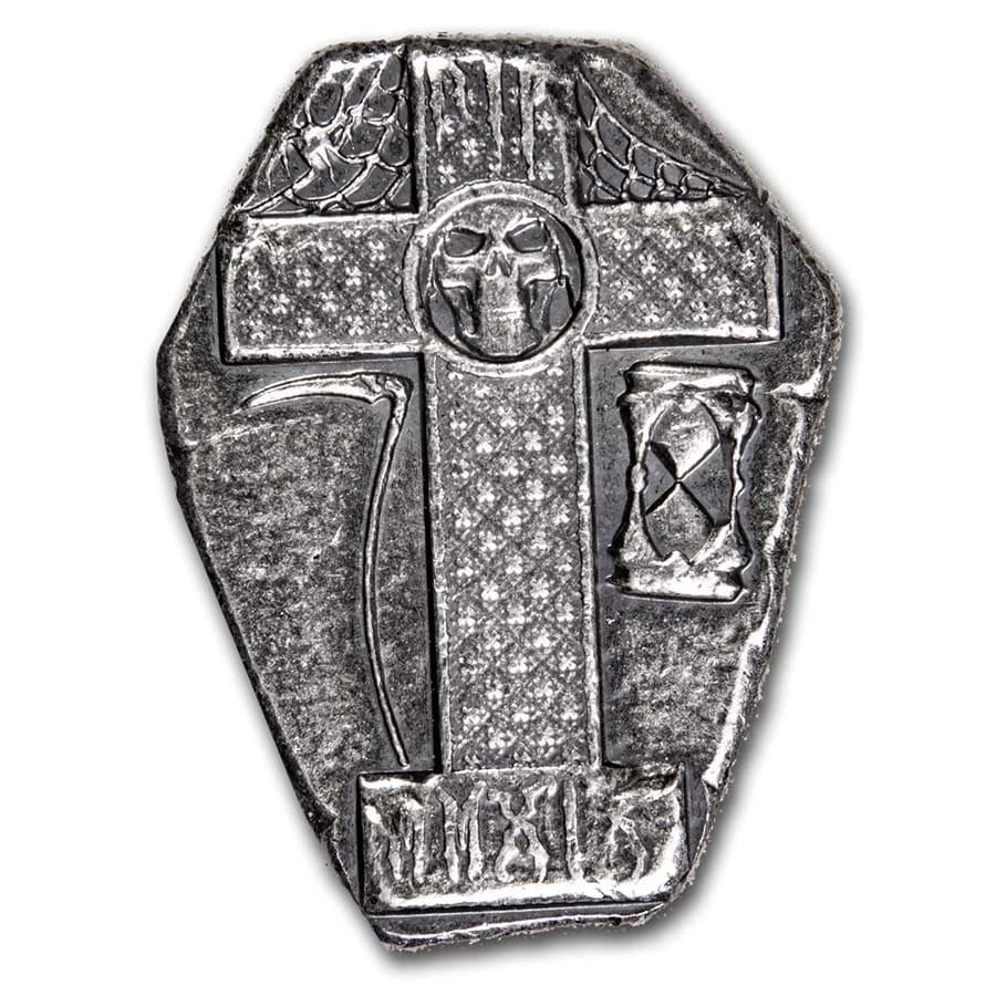 1.5 oz Hand Poured Silver Tombstone - MPM (Grim Reaper)