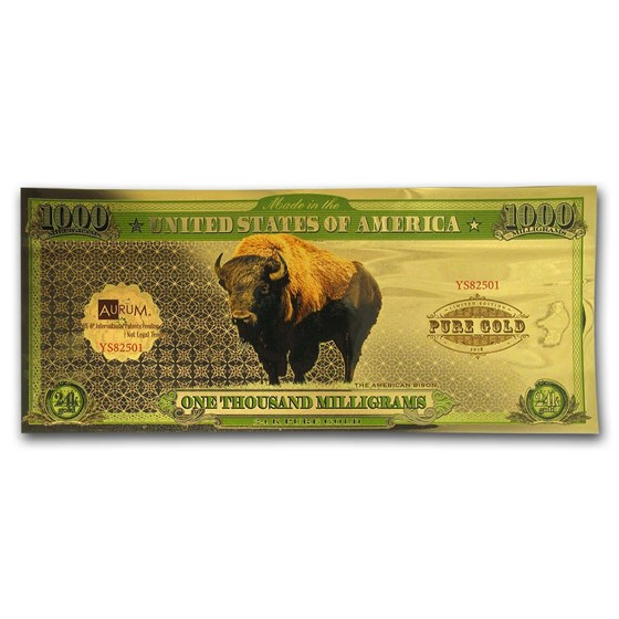 1 gram Gold Aurum Note - One Thousand Milligrams (Bison, 24K)