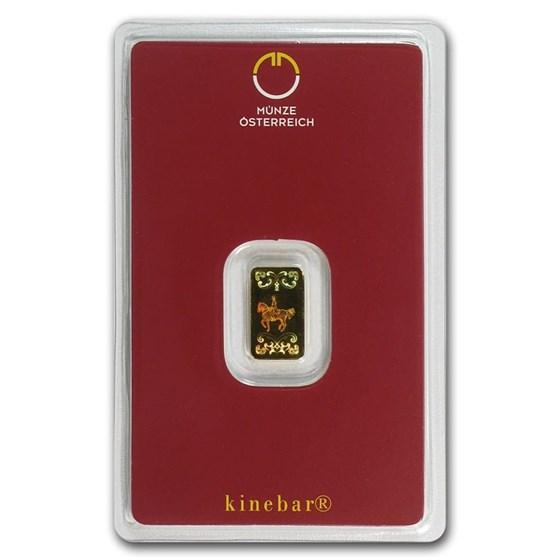 1 gram Gold Bar - Austrian Mint Kinebar Design (In Assay)
