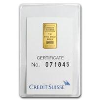 1 gram Gold Bar - Credit Suisse Statue of Liberty (Classic Assay)