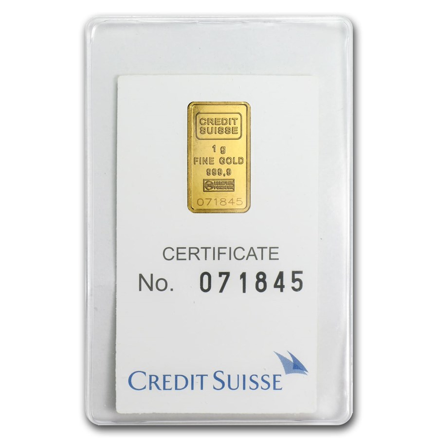 1 gram Gold Bar - Credit Suisse Statue of Liberty (Classic Assay)
