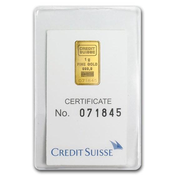 1 gram Gold Bar - Credit Suisse Statue of Liberty (In Assay)