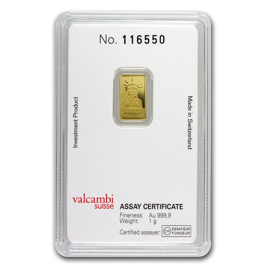 1 gram Gold Bar - Credit Suisse Statue of Liberty (New Assay)