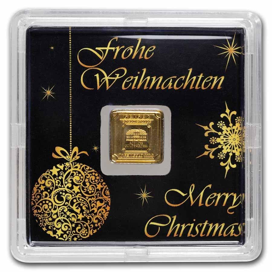 1 gram Gold Bar - Geiger Edelmetalle (Christmas Edition w/Assay)