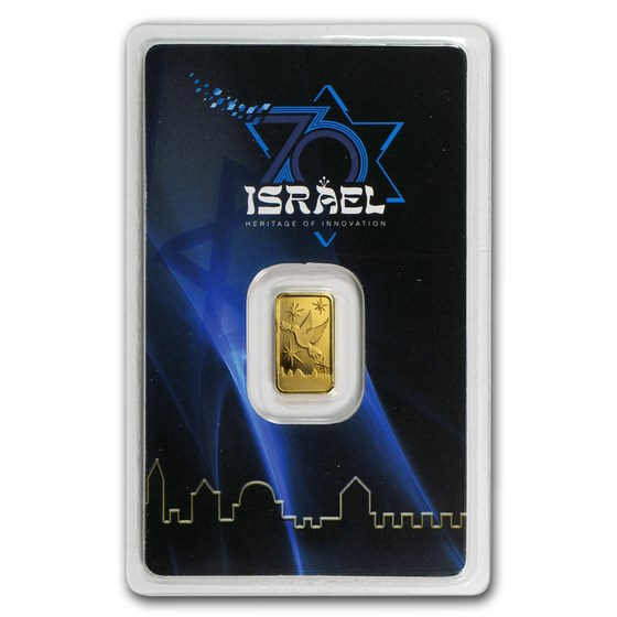 1 gram Gold Bar - Holy Land Mint 70 years Israel