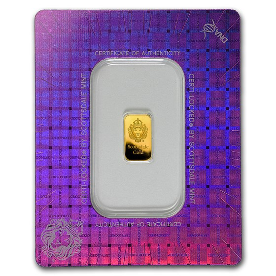 1 gram Gold Bar - Scottsdale Mint (In Certi-Lock® Assay)