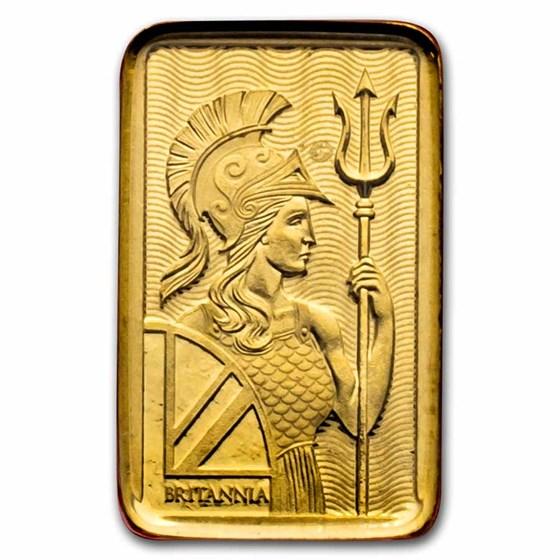 1 gram Gold Bar - The Royal Mint Britannia (Henna, In Assay)
