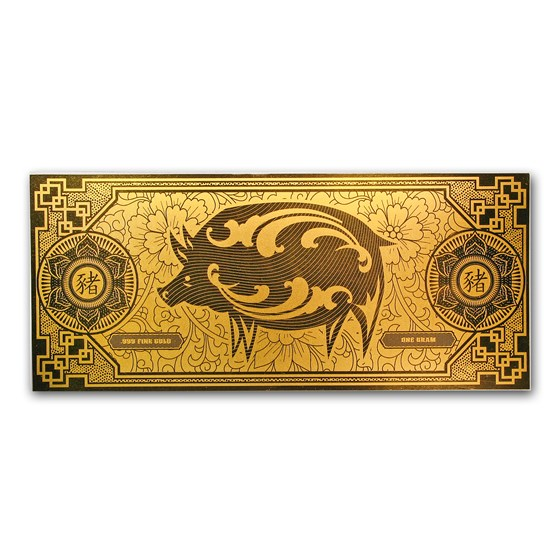 1 gram Gold Foil Note - APMEX (2019 Year of the Pig)