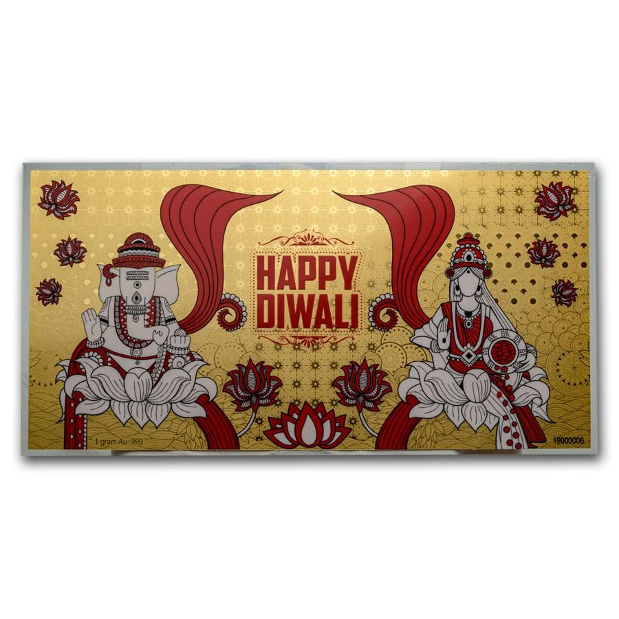 1 gram Gold Happy Diwali Gold Foil Note
