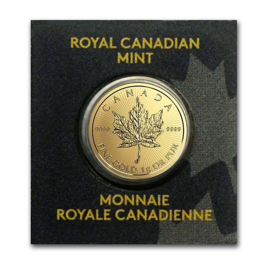 1 gram Gold Maple Leaf - Maplegram 25™ (In Assay) (Random Year)