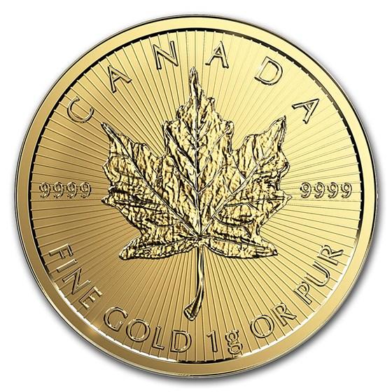 1 gram Gold Maple Leaf - Maplegram 25™ (Random Year) BU
